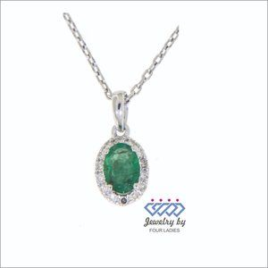 Natural Emerald Diamond Oval Pendant White Gold